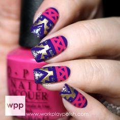 Tribal Nail Art - #nails #brightnails #nailart #tribalnails #workplaypolish