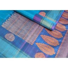 The President #Blue or #skyblue is an #amazing #color   and the luster shows in the body of this kora silk #saree. Set off by a simple dark blue and #zari border, the unique pallu plays a dose of rose chrome! #cooptex