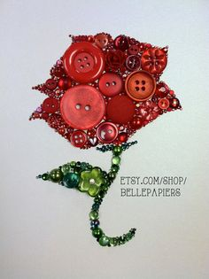 Button Art Button Rose & Swarovski Rhinestones Red Rose Unique Gift