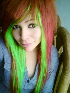 light ginger/brown && neon green i love these colores together XD