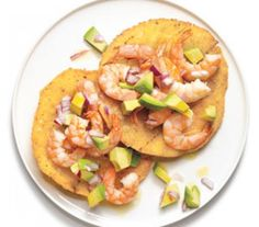 Shrimp and Avocado Tostadas