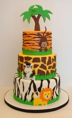 Best Image of Safari Birthday Cake . Safari Birthday Cake Pin Mia Castillo O… Jungle Birthday Cakes, Jungle Theme Cakes, Safari Theme Birthday, Jungle Theme Parties, Safari Cakes, Safari Party, First Birthday Cakes, Birthday Cake Toppers, Jungle Party