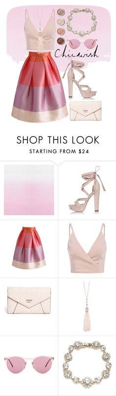 """""""Chicwish Skirt"""" by isis-anubis5 ❤ liked on Polyvore featuring River Island, Chicwish, GUESS, Oasis, Terre Mère, Oliver Peoples and Marchesa"""