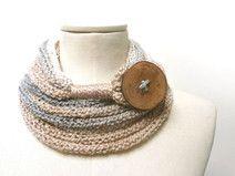 Sciarpa collana ad anello in lana grigio e beige