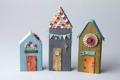 Houses from wood scraps - Modern Design Clay Houses, Putz Houses, Paper Houses, Miniature Houses, Bird Houses, Wooden Houses, Doll Houses, Wooden Crafts, Paper Crafts