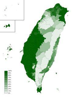 Proportion of residents aged 6 or older using Hokkien (Taiwanese) at home in Taiwan, Penghu, Kinmen & Matsu in 2010