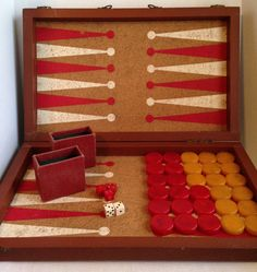 Vintage Bakelite Large Backgammon Game Complete with Case, Red & Butterscotch Pieces, Cork Backed Game Board, Leather Case by nikkisuniques on Etsy https://www.etsy.com/listing/263795203/vintage-bakelite-large-backgammon-game
