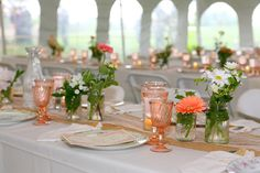 Wedding table setting #countrychic #weddingtable @Stellas Florist