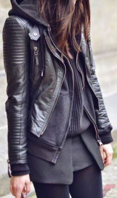 Black leather jacket outfit 44
