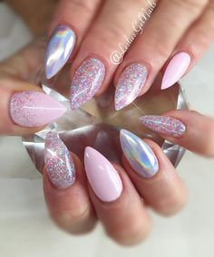 """A Perfect 10"" and ""Sugar Coated"" with Holograph  #nails#kelowna#gelnails#sculptedgel#lesliesgelnails#naildesign#pretty#cute#nailart#kelownagelnails#sculptedgelnails#nailsoftheday#kelownanailtech#pink#pinknails#glitter#glitternails#stiletto#stilettonails#holographicnails#holographic#unicornnails#unicorn#partynails"