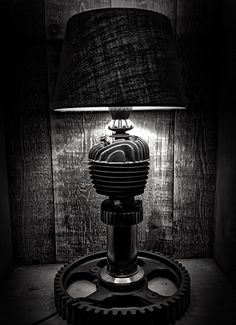 Brick amsterdam bits and pieces small engine steampunk lamp