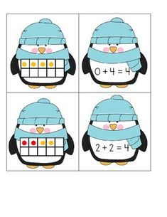 Penguins Ten Frame Addition Matching Game - Common Core - Katie Shininger - TeachersPayTeachers.com