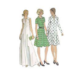 1970s Plus Size Maxi Dress Pattern McCalls 4059 A by Redcurlzs