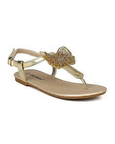 f522820394bddf Jelly Bean BB89 Leatherette Glitter Butterfly Thong Ankle Strap Sandal ( Toddler  Little Girl