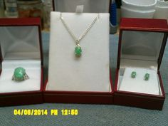 Franks rock shop : ladies Sterling silver three-piece set with Crisco Fay stone.