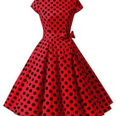 50s Fashion Rockabilly Style Red Po..