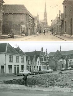 Achter de singelkerk /Emmastr /afgebroken voor t nwe stadskantoor/ onderste foto jaren 60 bovenste van voor de oorlog