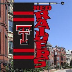 "Texas Tech Red Raiders 28"" x 44"" Black-Scarlet Cut-Out Applique Banner Flag"
