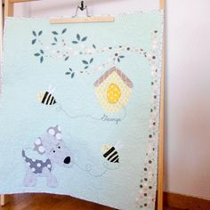 Custom modern patchwork applique baby stroller quilt, the dog and the bees…