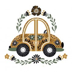 Folk car with a lot of floral elements P. Folk Art Flowers, Flower Art, Scandinavian Folk Art, Scandinavian Pattern, Pottery Painting Designs, Art Inspo, Vector Art, Watercolor Art, Folk Embroidery