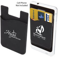 Adhesive silicon wallet attaches to most iPhones and Smartphones Pocket to hold credit card 3M Tape Holds up to 3 cards