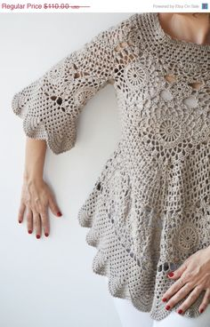 CIJ SALE NEW Spring 2014 Latte Crochet Sweater by Afra by afra, $99.00