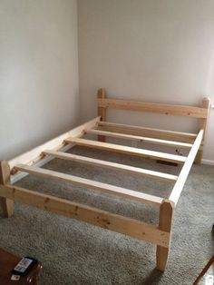 """Queen Bed Frame w/ 18"""" underbed storage   I bet Dad could build something similar..."""