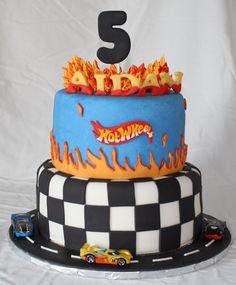 Hot Wheels car birthday cake - Double chocolate fudge cake with buttercream and fondant