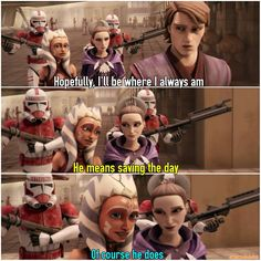 We can see that Ahsoka and Padmé know Anakin pretty well in this scene. Star Wars Rebels, Star Wars Clone Wars, Star Wars Art, Star Trek, Anakin And Padme, Star Wars Jokes, Ahsoka Tano, Star War 3, Love Stars