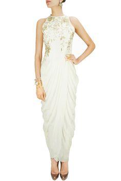 Ivory zari and lace applique drape kurta set. BY GAURAV GUPTA. Shop now at: www.perniaspopups... #beautiful style