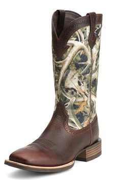 Ariat Men's Rooster Tail Wide Square Toe Brown Cowboy Boots ...