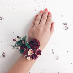 A personal favorite from my Etsy shop https://www.etsy.com/listing/560594565/burgundy-flower-wrist-corsage-fall-wrist