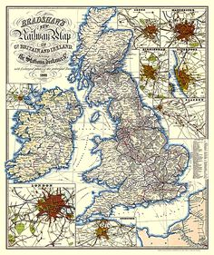 Antique map Great Britain & Ireland, Railway by Bradshaw Map, 1852