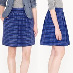 """NWT J. Crew Taffeta Stripe Mini Skirt blue silk Perfect skirt for spring and summer! Lying flat I measured the waist at 14"""" across. 17.75"""" long. """"Fun and feminine, in crisp taffeta and a slew of blue stripes (each one edged in finely woven dots). Fashioned in a flattering A-line length—neither too short nor too long—with on-seam pockets and a shirred waist for a dose of girlish swish. Wear it now with tights, love it later with sandals (and sun). Cotton/silk taffeta. Sits at waist. Side zip…"""
