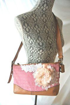 Coach purse, shabby embellished handbag, pink cottage floral shoulder bag, leather, victorian, romantic women's, true rebel clothing. $165.00, via Etsy.