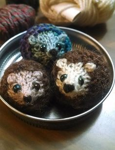"""Free Knitting Pattern for Harry Hedgehog - Tiny hedgehog toy is only 1.5"""" long and takes only 20min to make. Designed by Raynor Gellatly. Pictured project by onthetide"""