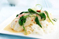 Coconut poached fish Add coconut for a unique twist on poached fish. Fish Dishes, Seafood Dishes, Fish And Seafood, Seafood Recipes, Cooking Recipes, Salmon Recipes, Prawn Recipes, Asian Recipes, Healthy Recipes