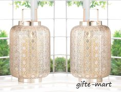 2 LARGE silver lace Moroccan medallion Candle holder lantern outdoor terrace #Unbranded #Moroccan