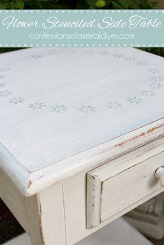 DIY Flower Stenciled Side Table Recycled