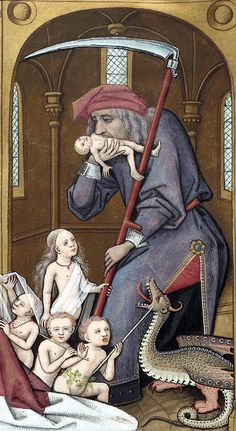Le livre des échecs amoureux moralisés, c.1401, Evrart de Conty; detail: Saturn devouring his own children, holding his symbolic attribute of a scythe. (gallica.bnf.fr)