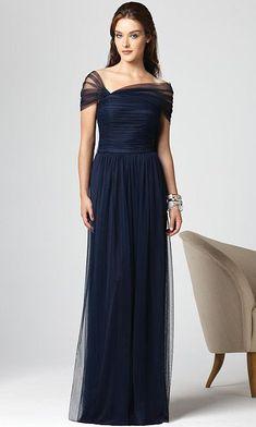 Dessy Collection Draped Short Sleeve Long Bridesmaid Dress 2847 at frenchnovelty.com