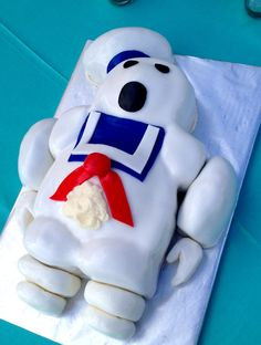 Ghostbusters Marshmallow Man Grooms Cake by Sweet For Sirten