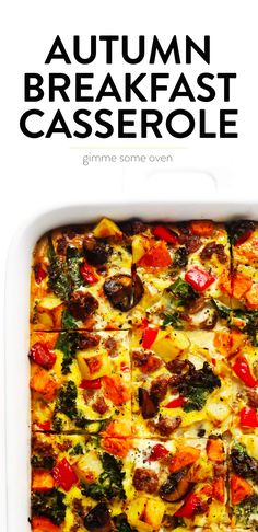 This Cozy Autumn Breakfast Casserole recipe is filled with roasted seasonal veggies sweet potato mushrooms kale and more sausage or you can make yours vegetarian eggs and. Enchilada Sauce, Fall Breakfast, Breakfast Ideas, Autumn Breakfast Recipes, Breakfast Club, Gimme Some Oven, Stuffed Mushrooms, Stuffed Peppers, Vegetarian Eggs