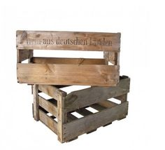 """Found German Wine Crate-Wood crates, used to store and transport bottles of wine. Each crate varies in the color and condition of wood. Average size is 12"""" wide x 18"""" long x 9.5"""" tall.Sourced from Germany."""
