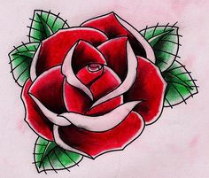 Old school rose drawing at getdrawings rose tattoo олдск Traditional Tattoo Prints, Traditional Tattoo Flowers, Traditional Roses, Rosa Old School, Old School Rose, Tattoo Vieja Escuela, Rose Heart Tattoo, Red Rose Tattoos, Flor Tattoo