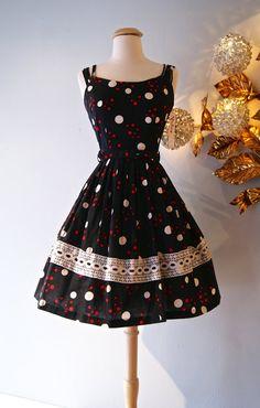 1950s Dress // Vintage 50s Polka Dot Cotton Sun by xtabayvintage, $148.00