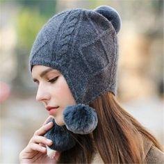 bf0eaa1b4cf Fur pom pom earflap hat for women winter knit hat with ear flaps