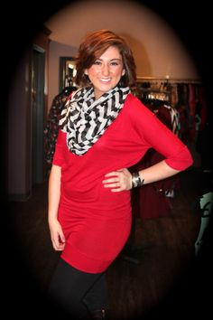 Red Tunic Sweater - $20 Black and white chevron scarf - $12  call 317-889-1150 or email jen@jendaisy.com to order!
