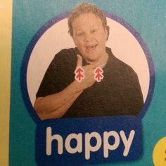 Happy - Makaton / Sign / Mr Tumble / Something Special Hand Sign Language, Sign Language Phrases, British Sign Language, Speech And Language, Makaton Printables, Makaton Signs, Mr Tumble, Eyfs Classroom, Signs