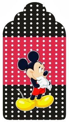 Mickey Rojo y Amarillo: Etiquetas para Candy Bar, para Imprimir Gratis.
